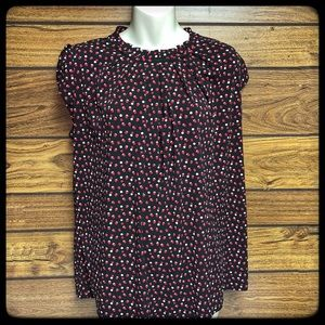 Elle black/red/white dotted pleated neck top M